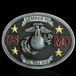 Vintage-US-Marine-Corps-Cowboy-Western-Fashion-Men-039-s-Belt-Buckle-Alloy-Metal-NEW