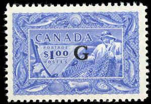 Stamp-Canada-Mint-H-1949-50-1-00-VF-Overprinted-G-Scott-O27-Fishing