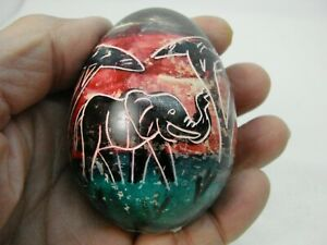 Kenya Afrika  Hand Painted Stone Egg Decorative Collectible