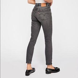 Women-s-Vintage-Levi-s-501-High-Waisted-Mom-Boyfriend-Jeans-UK-6-W26-L30-Grey