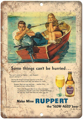 """Ruppert Slow Aged Beer Vintage Bar Ad 10/"""" x 7/"""" Reproduction Metal Sign E379"""