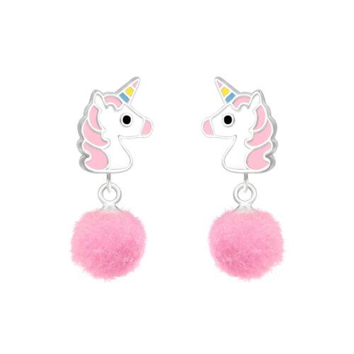 Sterling Silver Girls Pink Pom Pom UNICORN Drop Earrings Macaroon Gift Box