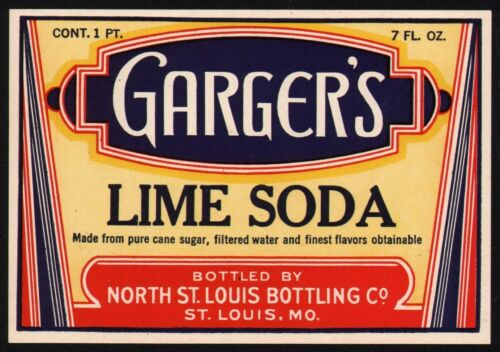 Vintage soda pop bottle label GARGERS LIME SODA St Louis unused new old stock