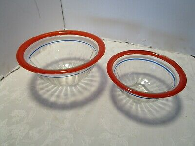Vintage Hazel Atlas Clear Depression Glass Rolled Rim Nesting Mixing Bowls \u2013 Set of 4 \u2013 Like New Condition