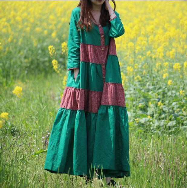 New Womens loose Full Length dress Linen Cotton Retro Ethnic Long Sleeve L