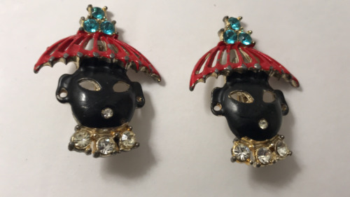 Blackamoor Jewelry Set Unmarked Selro Princess Design Black Bakelite Red Silver Accents Necklace Earrings Vintage Jewelry 1950 Era