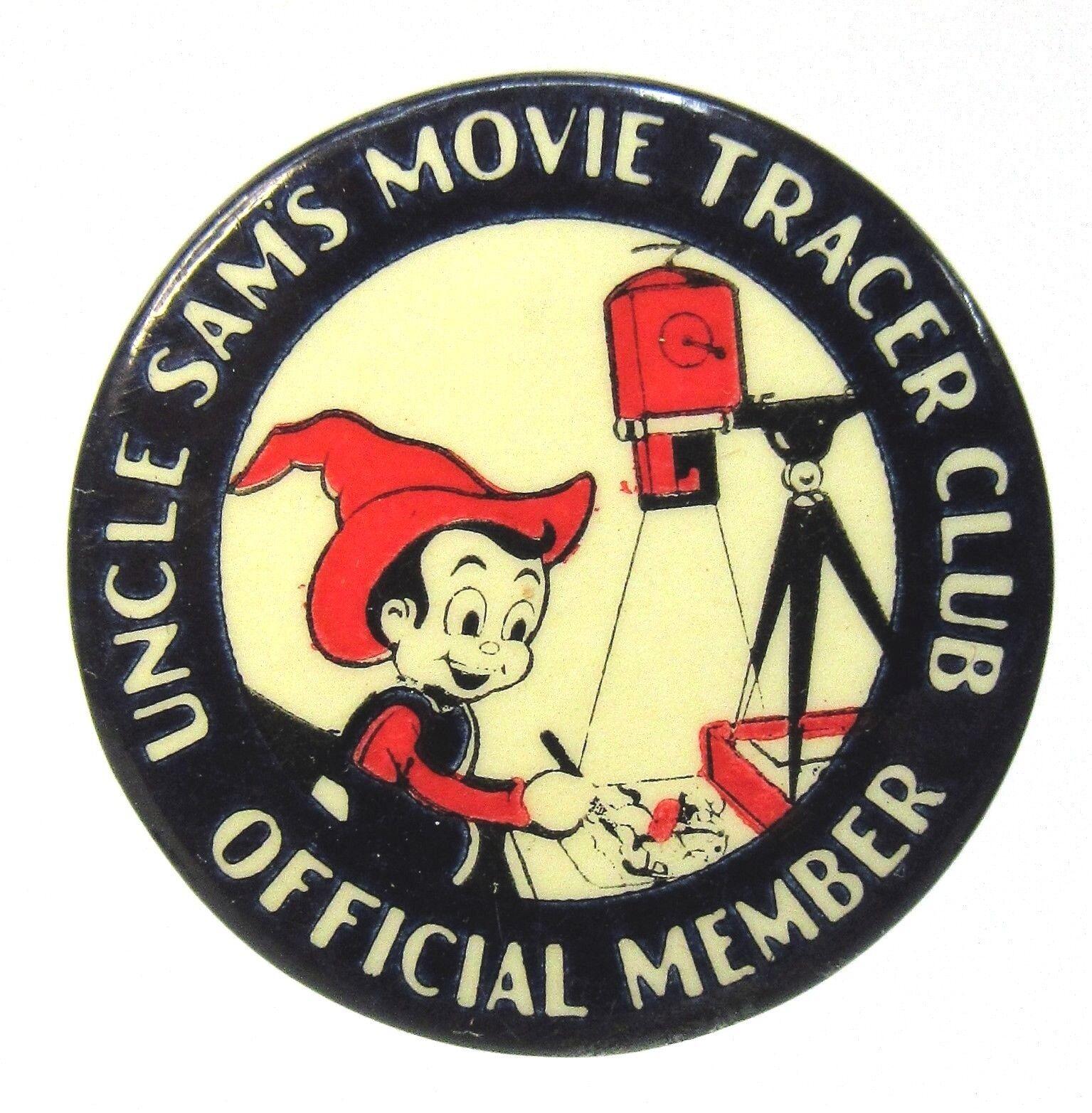 Década de 1930 miembro tío SAMS película Tracer Club Juguete Publicidad botón de Pinback