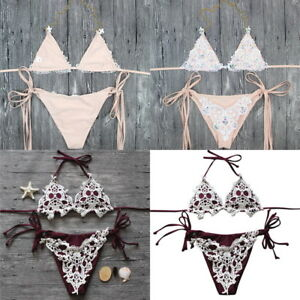 6057cdfe0825 Women Sexy Crystal Push-up Lace Bikini Set Swimwear Swimsuit Bathing ...