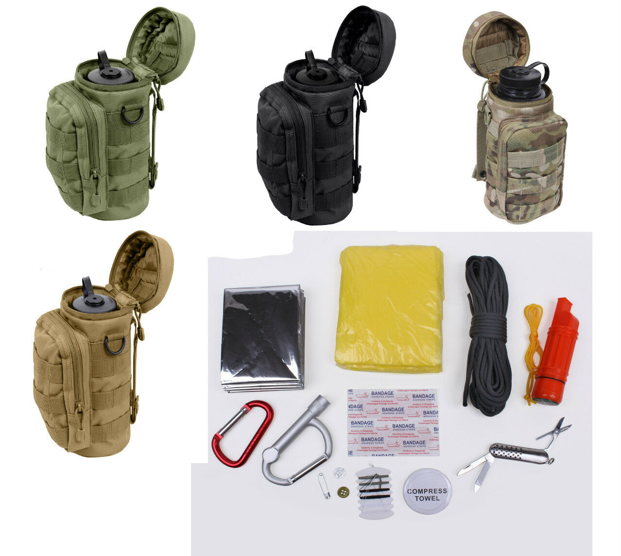 Water Bottle Survival  Kit With MOLLE Compatible Pouch redhco 5283  welcome to choose