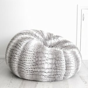 b46cfddf3f FUR BEANBAG Cover Soft Silver Grey Husky Bean Bag High End Lounge ...