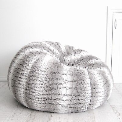 Groovy Fur Beanbag Cover Soft Silver Grey Husky Bean Bag High End Lounge Movie Chair Ebay Andrewgaddart Wooden Chair Designs For Living Room Andrewgaddartcom
