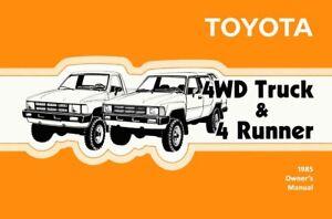 1985 toyota 4wd truck 4runner owners manual user guide reference rh ebay co uk Toyota 4Runner Manual Online 2005 Toyota 4Runner Repai