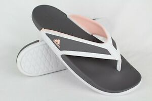 New-Adidas-Women-039-s-Adilette-Cloudfoam-Summer-Slide-Sandals-9-Gray-Pink-White