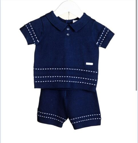 Blues Baby navy collared top shorts summer boys outfit bnwt 0-3 3-6 9-12 months