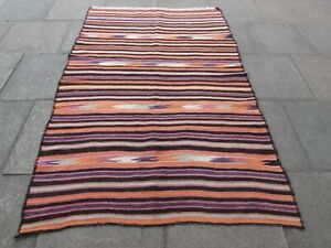 Vintage-Old-Traditional-Hand-Made-Oriental-Wool-Blue-Red-Large-Kilim-230x148cm