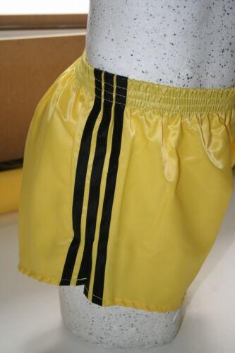 Gelb Retro Nylon Satin Fußball Shorts S zu 4XL Schwarz