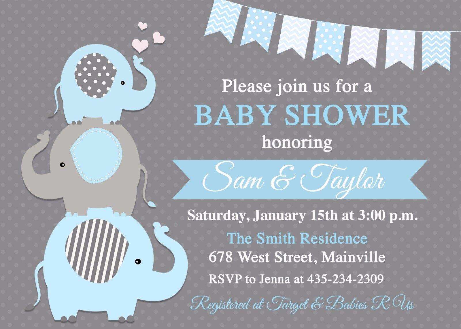 Elephant Baby Shower Invitation, Baby Boy, Boy, Boy Elephant, Blau