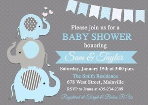 Elephant Baby Shower Invitation Baby Boy Boy Boy Elephant Blue Ebay