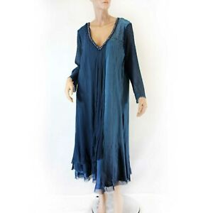 Details about Komarov Woman Nordstrom Plus Size Pleated Beaded Navy Gown  Dress Lining 3X