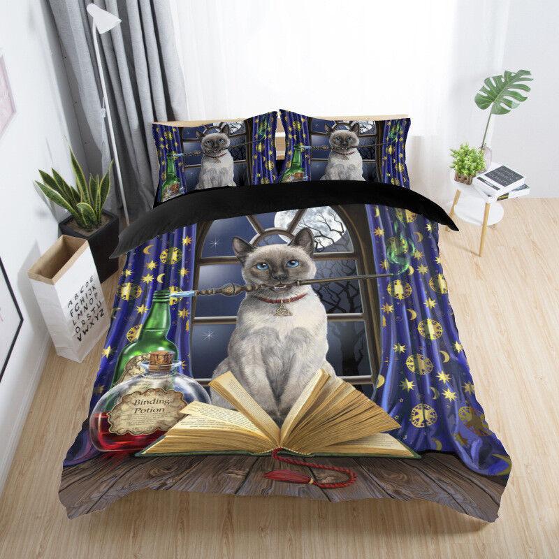 3D Magic Castle Funny Cat Bedding Set Duvet Cover Pillowcase Comforter Cover