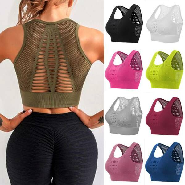 Damen Push Up Sport BH Bra Unterwäsche Slim Fit Fitness Gym Yoga Bustier Tops DE