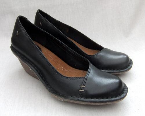 de cuña para Clarks cuero Nuevos Harlan de zapatos negro mujer Beach qzEwt