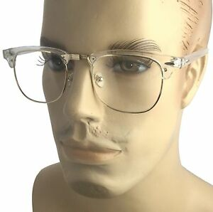 5a08989e2219 Transparent Frame Eye Glasses Vintage 80 Half Retro Clear Lens Gold ...