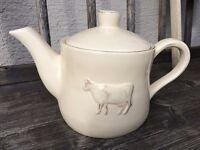 """Clayre & Eef Teekanne Kaffeekanne Kanne """"Kuh"""" 0,8l  Keramik weiß Vintage Shabby"""