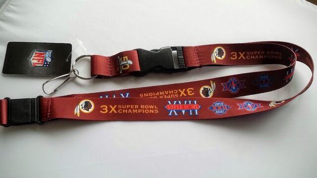 Washington Redskins Football NFL Dynasty Lanyard Key Ring Keychain & Safety Clip