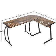 Brown Modern L Shaped Corner Desk Laptop Study Writing Table Workstation Home