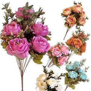 7 Heads Stems Artificial Silk Flowers open Rose Bunch Wedding Home Grave Outdoor
