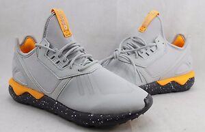 Adidas Tubular Runner Clear Grey Onix Neon Orange AQ8388 Size 8-10.5