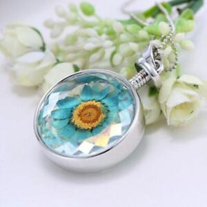Women-Real-Dried-Sun-Flower-Locket-Pendant-Charm-Necklace-Fashion-Jewelry