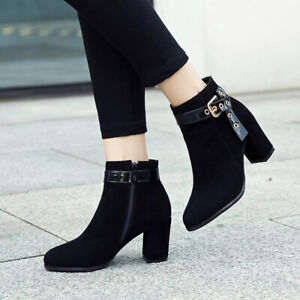 Big-Size-34-52-Womens-Ankle-Boots-Block-Mid-Heel-Ladies-Zip-Buckle-Strap-Booties