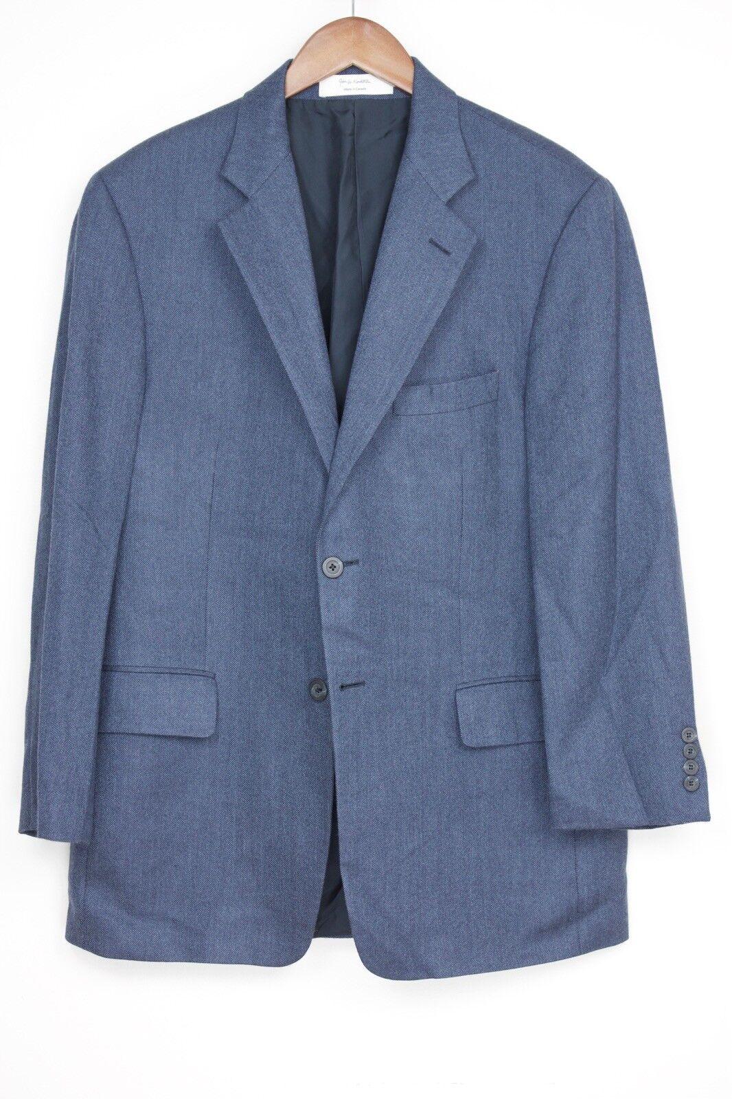 Nordstrom herren Sport Coat 42R Solid Blau Herringbone LGold Piana Cashmere jacke