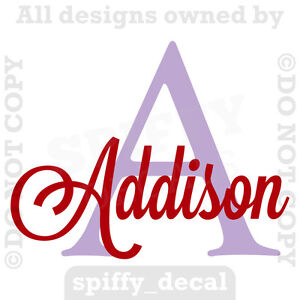 MONOGRAM-INITIAL-NAME-Personalized-Vinyl-Wall-Decal-Sticker-Nursery-Boy-Girl