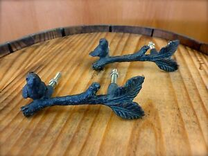 2 Antique Bronze Bird On Twig Drawer Cabinet Pulls Handles