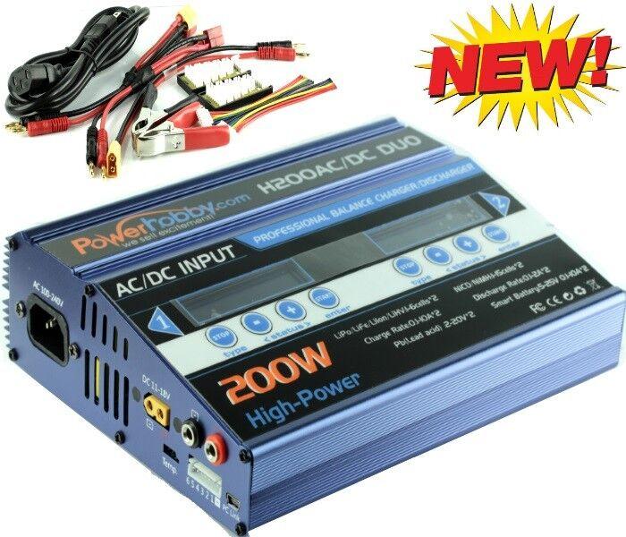 Powerhobby H200 AC   DC Dual Duo Lipo Life LiHV  Nicd Nimh Battery Charger azul