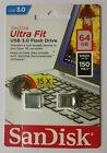 Sandisk ultra fit 64gb usb 3.0 SDCZ43 064Gb original 150/mbs