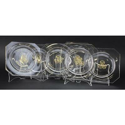9. Set of 6 Le Rosey French Fine Crystal Glass Engraved Salad Plate QUAILTY Lot 9