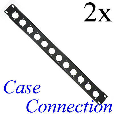2x 1HE Rackblende 12x D-Form - Stahl - schwarz - gekantet XLR D-Type Rack Panel