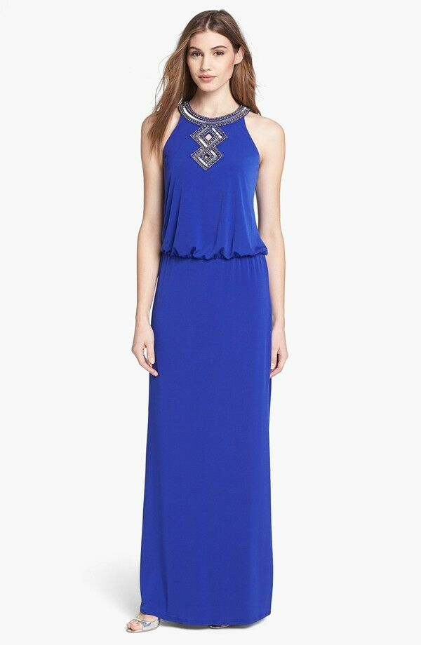 NWT  Laundry by Shelli Segal Embellished Blouson Gown in Blau [SZ 10 ]  AP58
