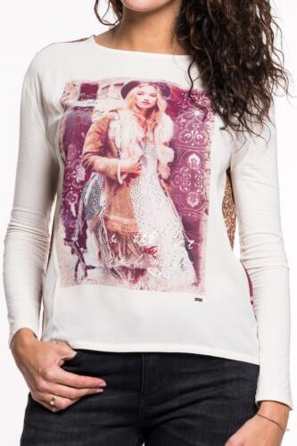 GAUDI Long Sleeve Shirt Damen Oberteil weiß Printmuster beidseitig