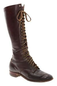 WWI-Leather-TRENCH-BOOTS-7-AA-CALVARY-Military-Boots-Pre-WWII-Vintage-25-Eye-USA