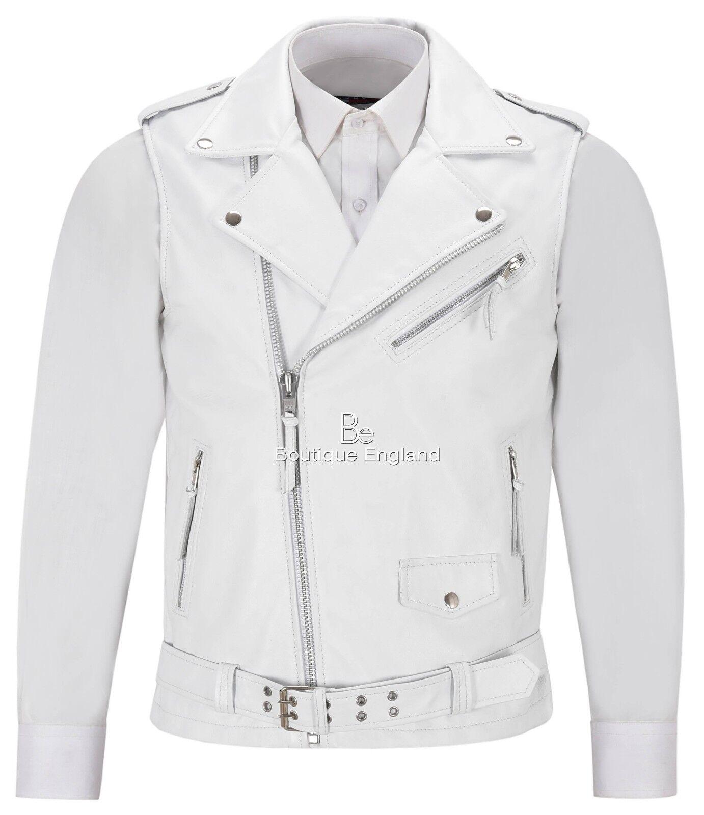 Men's Brando Waistcoat Biker Motorcycle Style White Real Lambskin Vest 1025