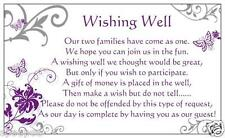 10 WISHING WELL CARDS General Poem Wedding Invitations Purple Butterfly Silver