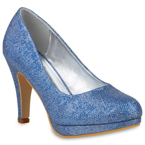 Damen Abiball Glitzer High Heels Pumps Plateau Vorne 78827 Party Stiletto Schuhe