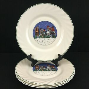 Set-of-4-VTG-Salad-Plates-by-Arcopal-Holiday-Village-Christmas-Winter-France
