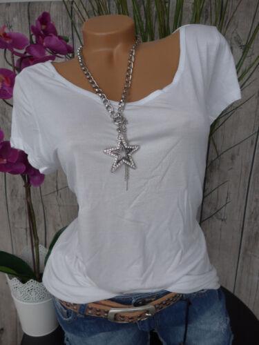 Aniston Viskose Shirt Gr 5 NEU 066 34-44 Weiß Kurzarm weich fallend