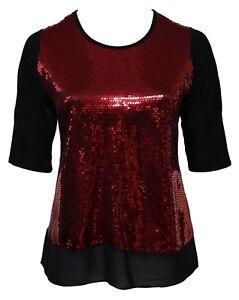 Damen-16-26-Glamour-rot-Pailletten-Stretch-Tunika-Top-schwarz-Georgette-Saum-Damen